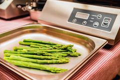 Close up green asparagus on scales Royalty Free Stock Photo