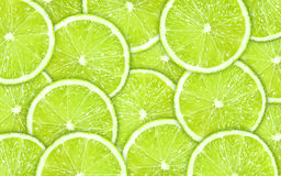 Close-up green background with lime slices Stock Image