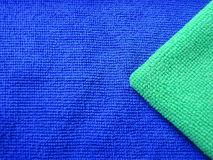 Close-up of green and blue clothes weave Royalty Free Stock Photography