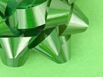 Close up of Green Bow on Wrapping paper Stock Images