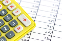 Close up Green calculator on paper Royalty Free Stock Image