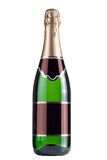 Close up of green champagne bottle Royalty Free Stock Photos