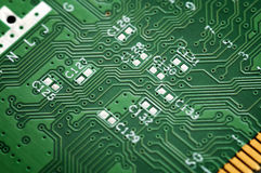Close up of a green circuit board Stock Images