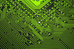 Close up of a green circuit board Stock Photos