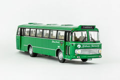 Close up of green classic vintage bus, scale model. royalty free stock images
