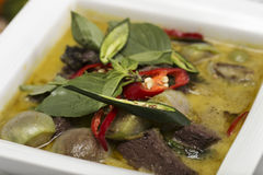 Close up Green curry Chicken soup Royalty Free Stock Image
