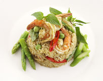 Close up green curry fried rice Royalty Free Stock Images