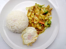 Close up green curry fried Vegetable with chicken on dish, Delicious fried fried vegetable with chicken green curry, Thai Food Stock Photo