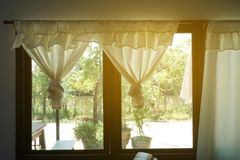 Green curtain and on window. Close up green curtain and on window stock image