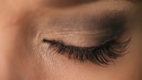 Close up of green female eye stock footage