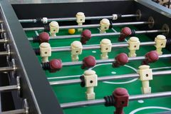 Close-up of a green football field, table football. royalty free stock images