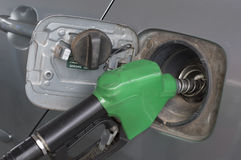 Close up green fuel nozzle. and  car at gas station Stock Image