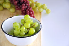 Close up Green Grapes in Bowl Royalty Free Stock Images