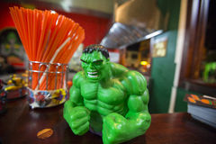 Close up of a green Hulk minifigure from the Marvel comics Stock Photography