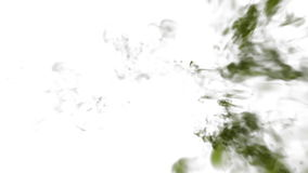 Close-up green Ink or green smoke in water move in slow motion with alpha mask. VFX Cloud of Ink for transitions. Background, overlay and effects. For alpha stock video