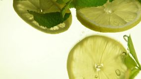 Close up green mint leaves and lemon in mojito. Close up several fresh green mint leaves and lemon slices thrown and floating in mojito glass, low angle side stock video