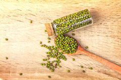 Close up green mung beans in wooden spoon on wood plate Royalty Free Stock Photo