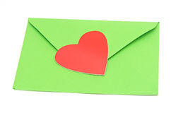 Close-up of green paper envelope Royalty Free Stock Photography
