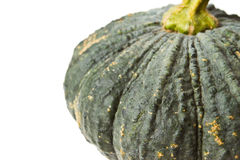 Close up green pumpkin on isolated white Royalty Free Stock Images