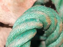 Close up of green rope in dock yard stock photography