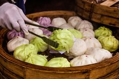 Green selection steamed buns on a tray Stock Images