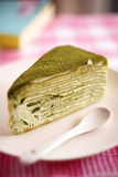Close up green tea crepe cake Stock Image