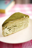 Close up green tea crepe cake Royalty Free Stock Images