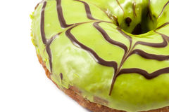 Close up green tea donut. On white background Royalty Free Stock Photography