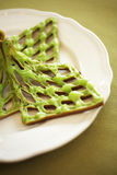 Close up green tea waffle Royalty Free Stock Image
