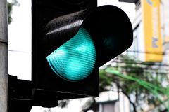 Close up of Green traffic light, The light signal indicates that the car can drive through stock photo