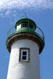 Close up of Green and White Lighthouse, Doelan, France Stock Photography