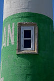 Close up of Green and White Lighthouse, Doelan, France Stock Images