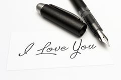 Close-up of a greeting card with the sweet word, I love you royalty free stock image