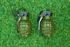 A grenade on grass Royalty Free Stock Photo