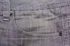 Close up of grey jeans pocket Stock Photos
