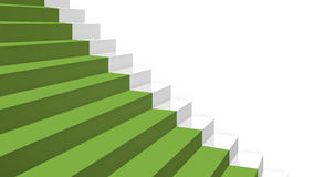 Close-up grey stairs in diagonal perspective with green carpet Stock Photography