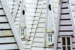 Close up of grey wooden homes facades. Detail of wood structures stock photos
