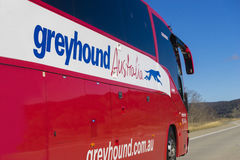 Close-up of Greyhound Australia bus on the road Stock Image