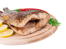 Close up of grilled carp steak. Stock Image