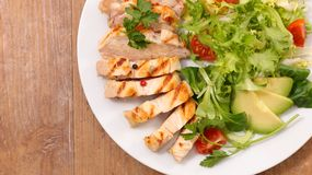 Grilled chicken salad. Close up on grilled chicken salad Royalty Free Stock Photography