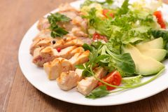 Grilled chicken salad. Close up on grilled chicken salad Stock Photo