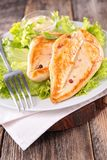 Grilled chicken and salad. Close up on grilled chicken and salad Royalty Free Stock Photography
