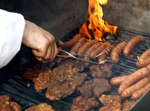 Close up of grilled meat and sausage Royalty Free Stock Image