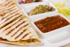 Close Up of Grilled Quesadilla with Salsas Stock Photos