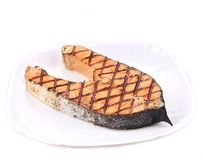 Close up of grilled salmon steak. Stock Photos