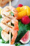 Close up of grilled shrimps Royalty Free Stock Photography