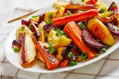Close-up of grilled sliced veggies on a plate