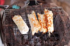 Close up grilled squid eggs skewers Stock Photography