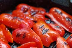 Close up grilled sweet bell peppers. Macro of a vegetable. Shallow depth a field. royalty free stock images