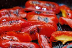 Close up grilled sweet bell peppers. Macro of a vegetable. Shallow depth a field. stock photography